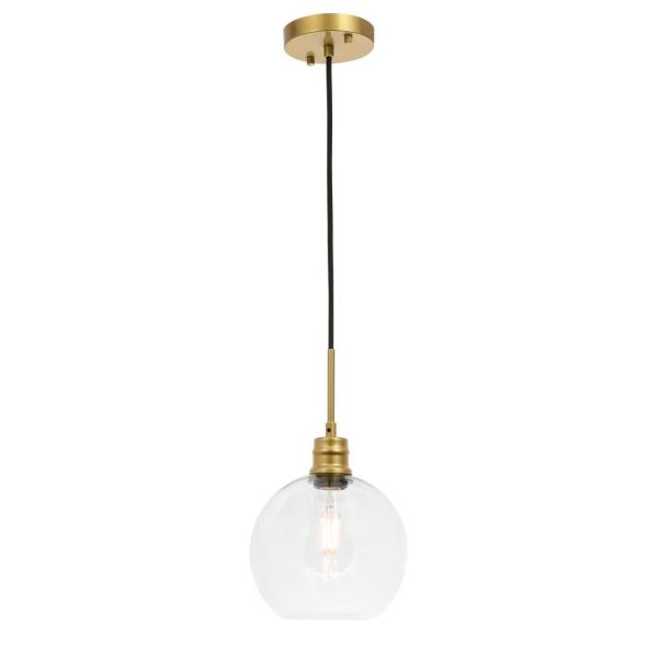 Timeless Home Eduardo 1-Light Pendant in Brass with 8 in. W x 7.5 in. H Clear Glass Shade Glass