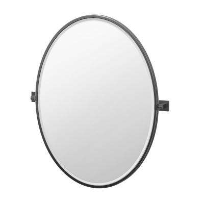 Elevate 33 in. x 28.25 in. Framed Oval Mirror in Matte Black