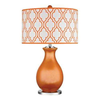 Thatcham 26 in. Tangerine Orange and Polished Nickel Table Lamp