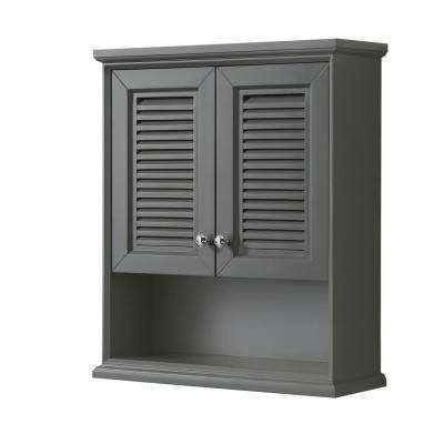 Tamara 25 in. W x 9 in. D Bathroom Storage Wall Cabinet in Dark Gray