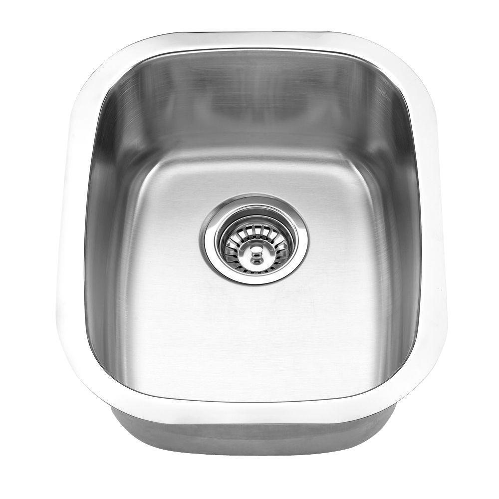 Undermount Bar Stainless Steel 19 in. Single Bowl Kitchen Sink in Satin