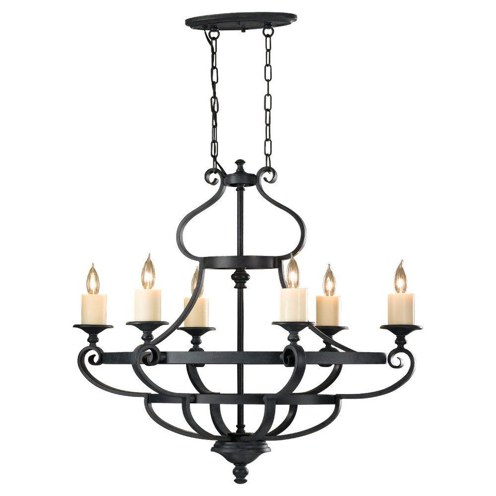Feiss Kingu0027s Table 6 Light Antique Forged Iron 1 Tier Chandelier