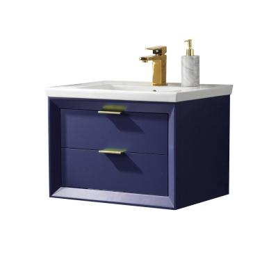 Danbury 24 in. W x 18.5 in. D Bath Vanity in Blue with Porcelain Vanity Top in White with White Basin
