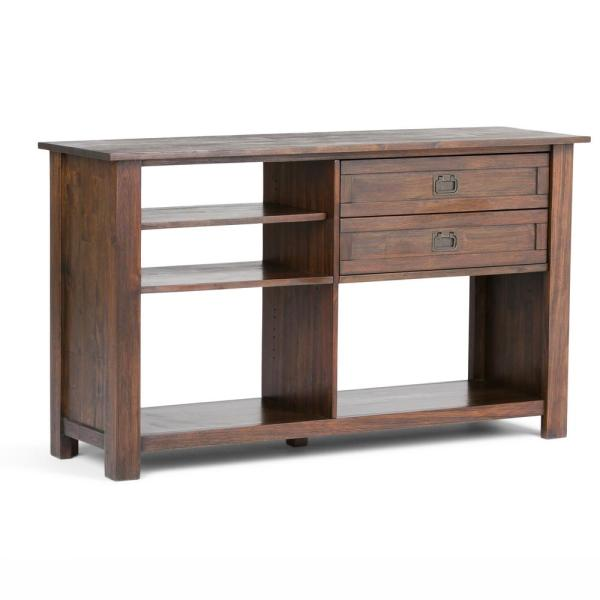 Simpli Home Monroe Solid Acacia Wood 52 in. Wide Rustic Console Table in Distressed Charcoal Brown
