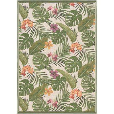 Dolce Flowering Fern Ivory-Hunter Green 8 ft. x 11 ft. Indoor/Outdoor Area Rug