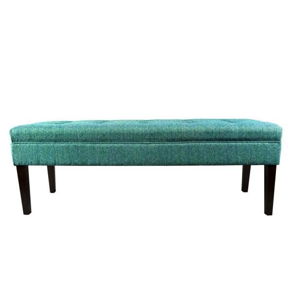 Kaya T2 Olivia Teal Button Tufted Upholstered Bench