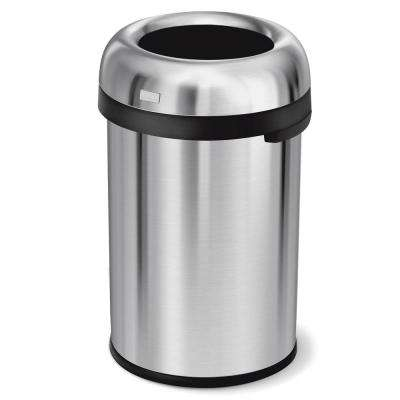 115-Liter/30.4 Gal. Heavy-Gauge Brushed Stainless Steel Bullet Open Top Commercial Trash Can