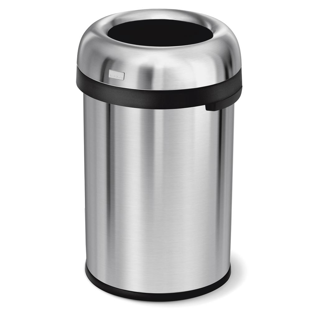 115-Liter/31 Gal. Heavy-Gauge Brushed Stainless Steel Bullet Open Top Trash Can