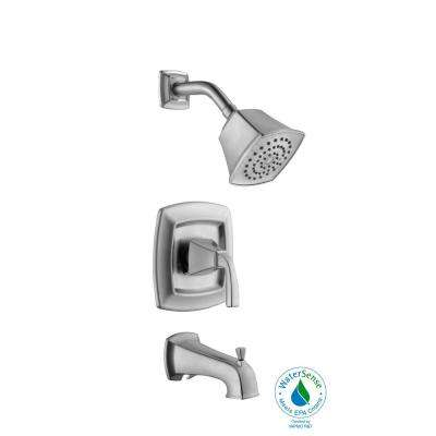 Mason 1-Handle 1-Spray Tub and Shower Faucet in Brushed Nickel (Valve Included)