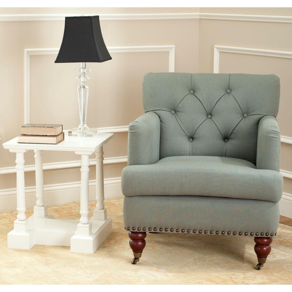 Safavieh Colin Sea Mist Linen Arm Chair
