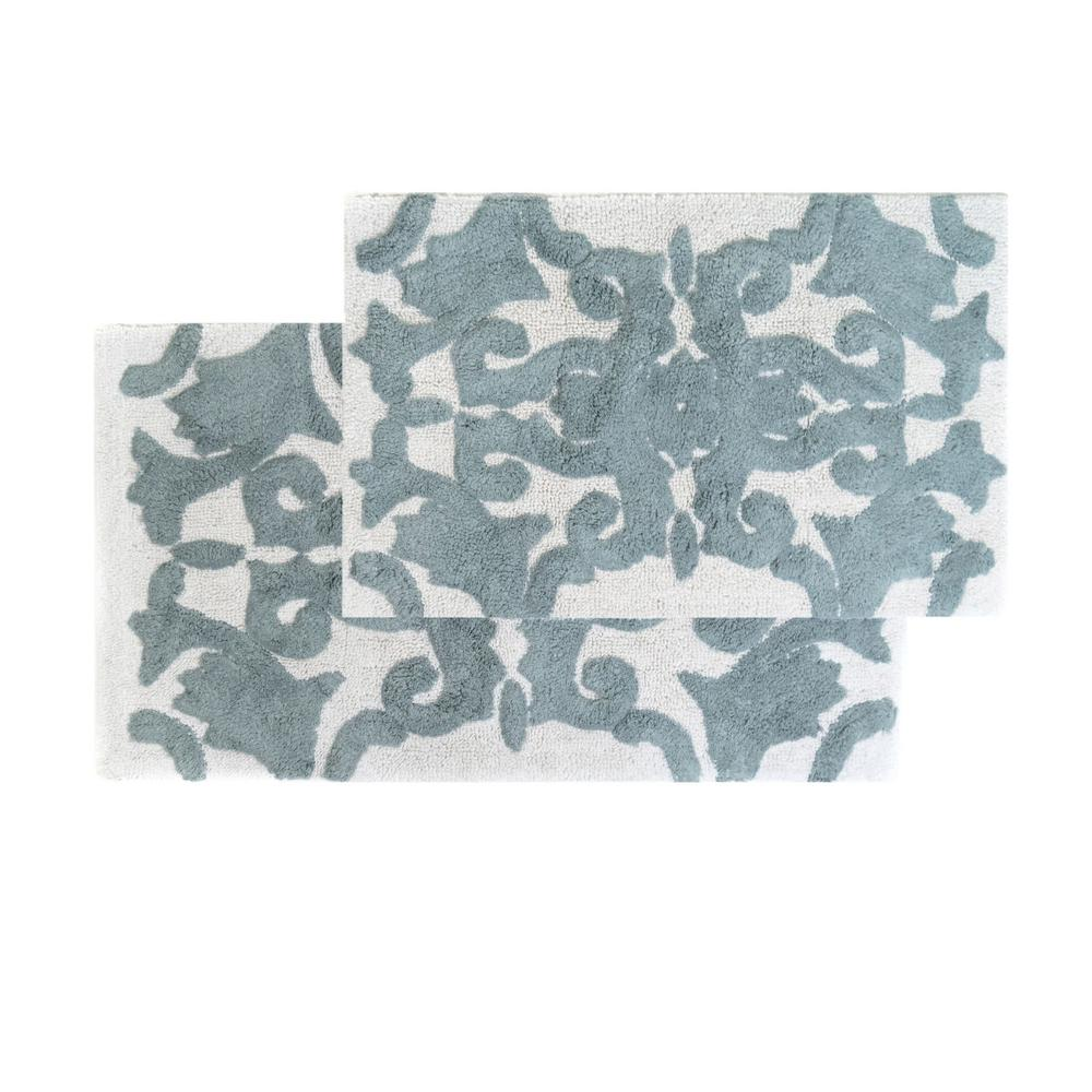 Chesapeake Merchandising Iron Gate White and Grey 20 in. x 32 in. and 23 in. x 39 in. 2-Piece  Bath Rug Set
