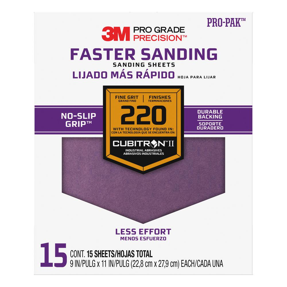 3M Pro Grade Precision 9 in. x 11 in. 220 Grit Fine Advanced Sanding Sheets (15-Pack) (Case of 5)