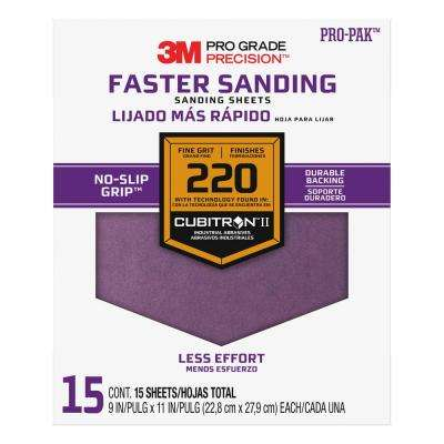Pro Grade Precision 9 in. x 11 in. 220 Grit Fine Advanced Sanding Sheets (15-Pack) (Case of 5)