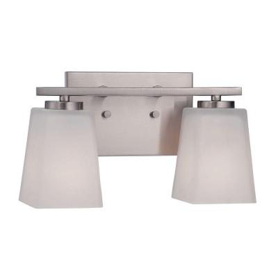 2-Light Brushed Nickel Vanity Light with Etched White Glass
