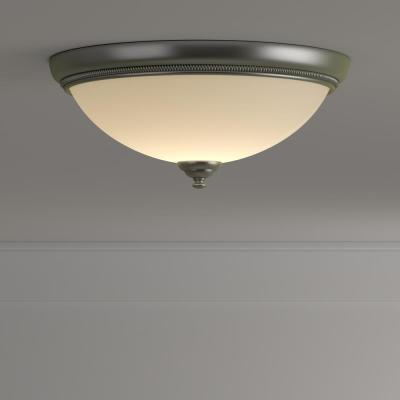 Pavilion Collection 15 in. 2-Light Brushed Nickel Hallway Flush Mount with Etched Watermark Glass