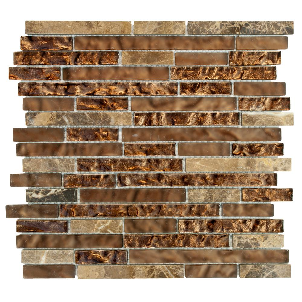 Jeffrey Court Walnut Foil Emperador Pencil 10.75 in. x 11 in. x 8 mm Glass Marble Mosaic Wall Tile