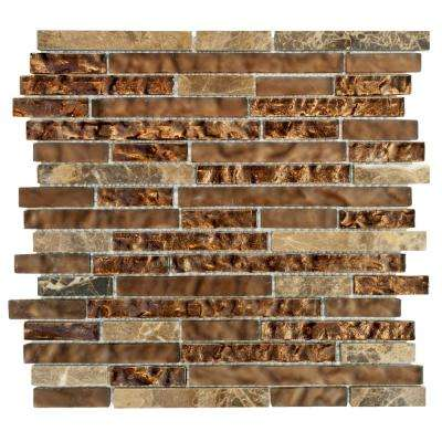 Walnut Foil Emperador Pencil 10.75 in. x 11 in. x 8 mm Glass Marble Mosaic Wall Tile