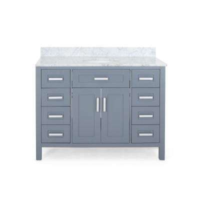 Greysen 48 in. W x 22 in. D Bath Vanity with Carrara Marble Vanity Top in Grey with White Basin