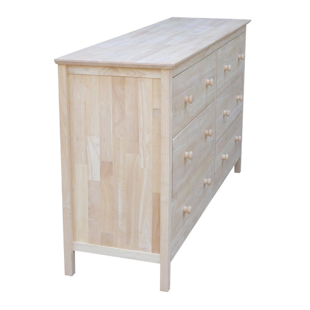 6 Drawer Unfinished Wood Dresser