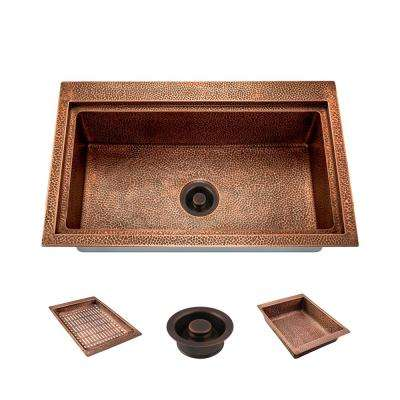 All-in-One Dualmount Copper 32 in. Single Bowl Kitchen Sink