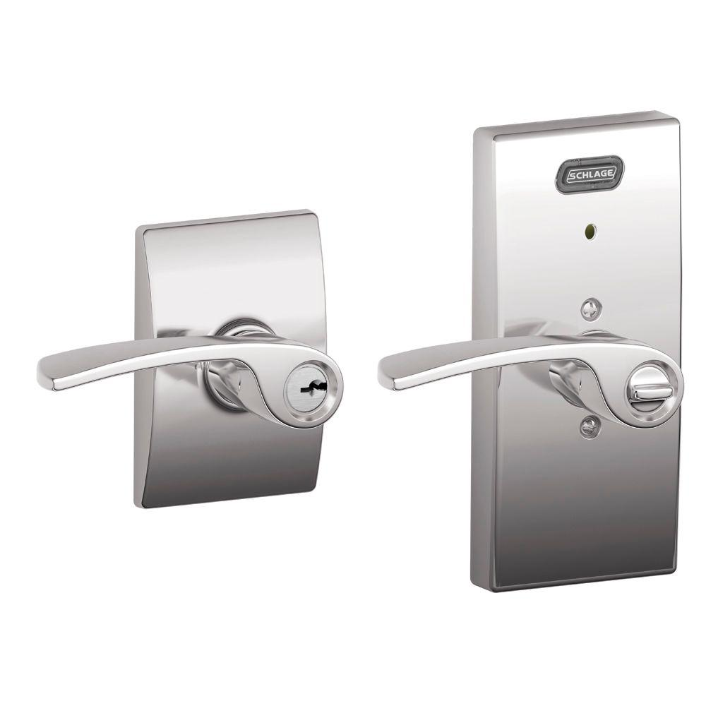 Schlage Century Collection Merano Satin Nickel Keyed Entry Lever with Built-In Alarm