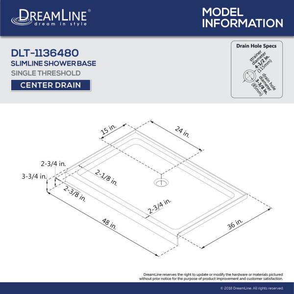 Dreamline Aqua Ultra 36 In X 48 In X 74 75 In Semi Frameless Hinged Shower Door In Brushed Nickel With Center Drain Base Dl 6524c 04cl The Home Depot