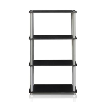 43.25 in. Black/Gray Plastic 4-shelf Etagere Bookcase with Open Back