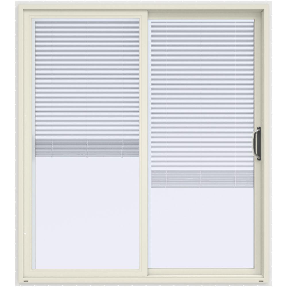 72 in. x 80 in. V-4500 Contemporary Vanilla Paint Vinyl Right-Hand Full Lite Sliding Patio Door White Interior & Blinds