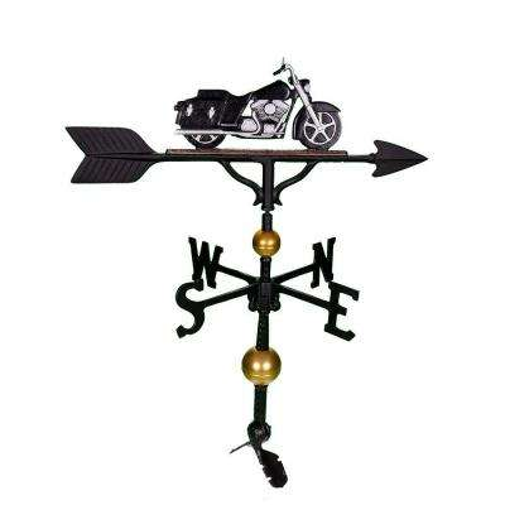 32 in. Deluxe Black/Chrome Motorcycle Weathervane