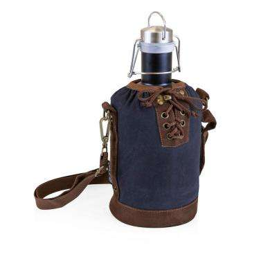 Navy and Brown Insulated Growler Tote with 64 oz. Matte Black Stainless Steel Growler