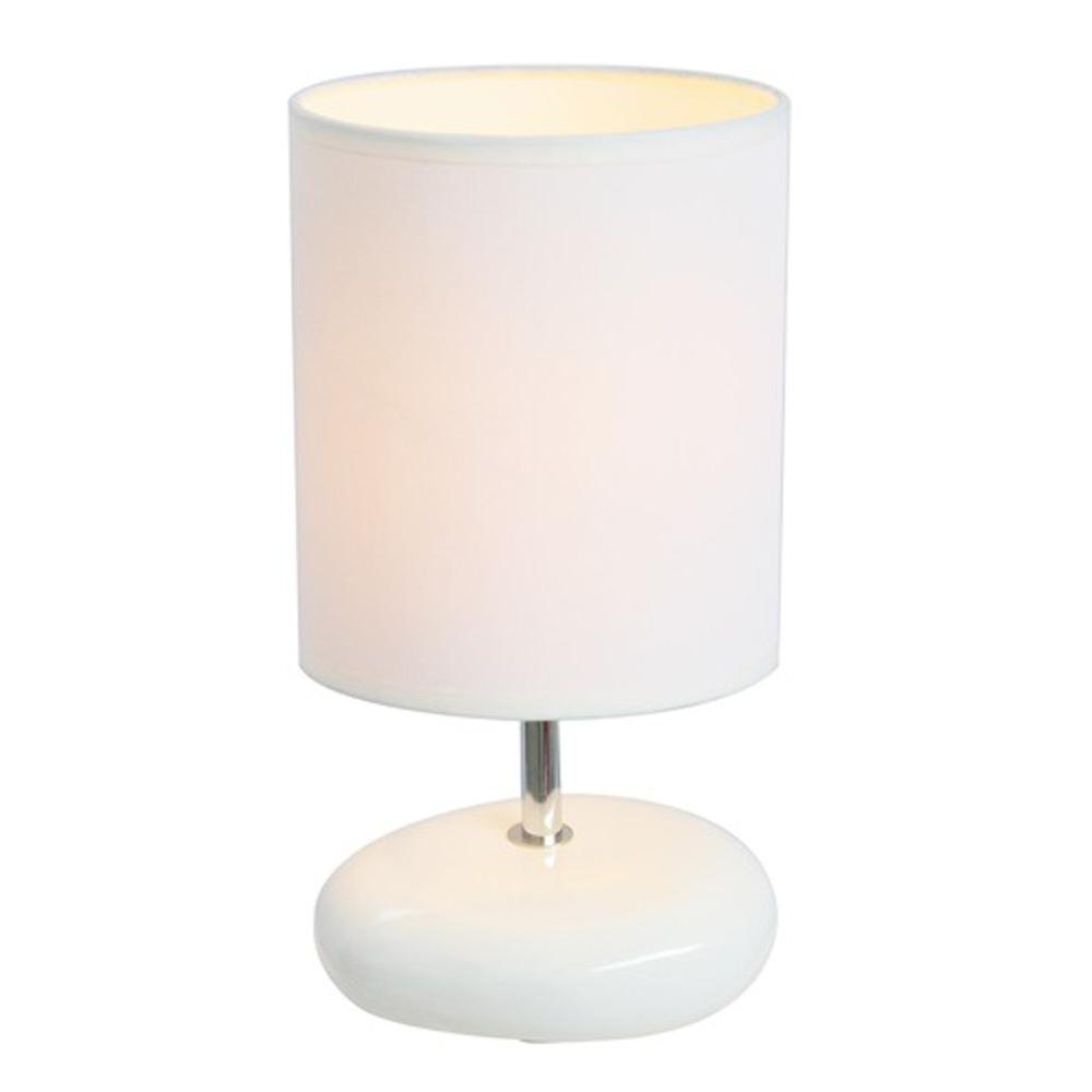 Simple Designs 10.5 in. White Stonies Small Stone Look Bedside Table Lamp