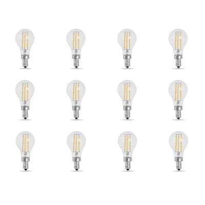 60-Watt Equivalent (2700K) A15 Candelabra Dimmable Filament Clear Glass LED Ceiling Fan Light Bulb, Soft White (12-Pack)