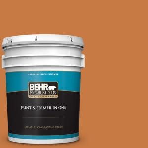 Behr Premium Plus 5 Gal M230 7 Rumba Orange Satin Enamel Exterior Paint And Primer In One 934005 The Home Depot