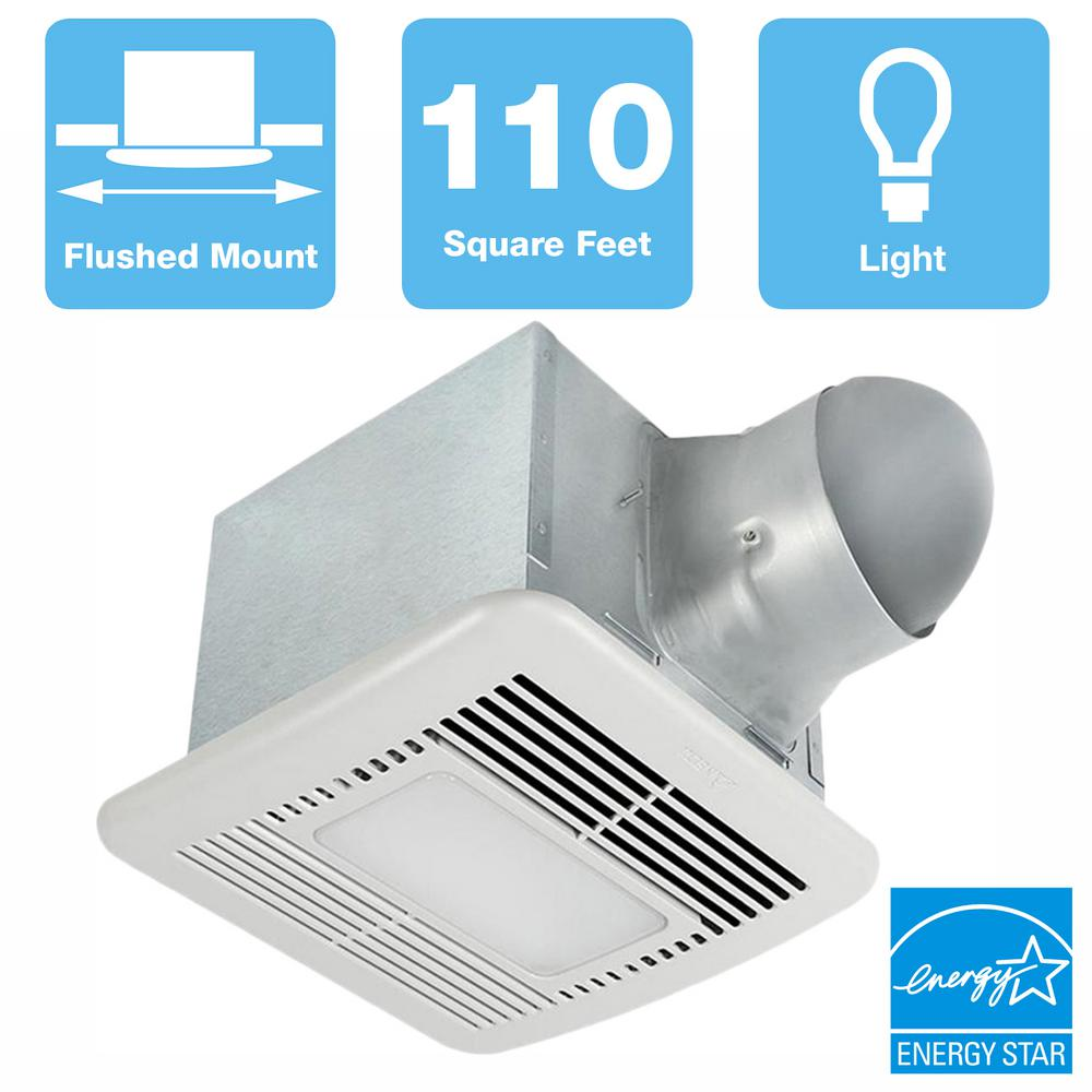 Delta Breez Signature 80/110 CFM Adjustable Speed Ceiling Bathroom Exhaust Fan with Dimmable LED Light, ENERGY STAR