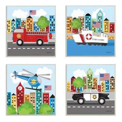 "12 in. x 12 in. ""Fun Cartoon Metro Vehicle Heroes"" by Kathy Middlebrook Printed Wood Wall Art (Set of 4)"