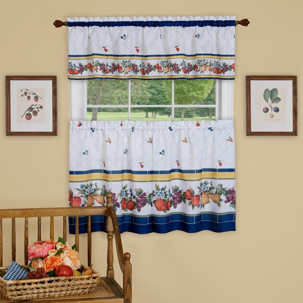 Fruity Tiles Multicolor Polyester Tier and Valance Curtain Set 58 in.