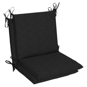 Belcourt 19 x 36 Sunbrella Canvas Black Mid Back Outdoor Dining Chair Cushion (2-Pack)