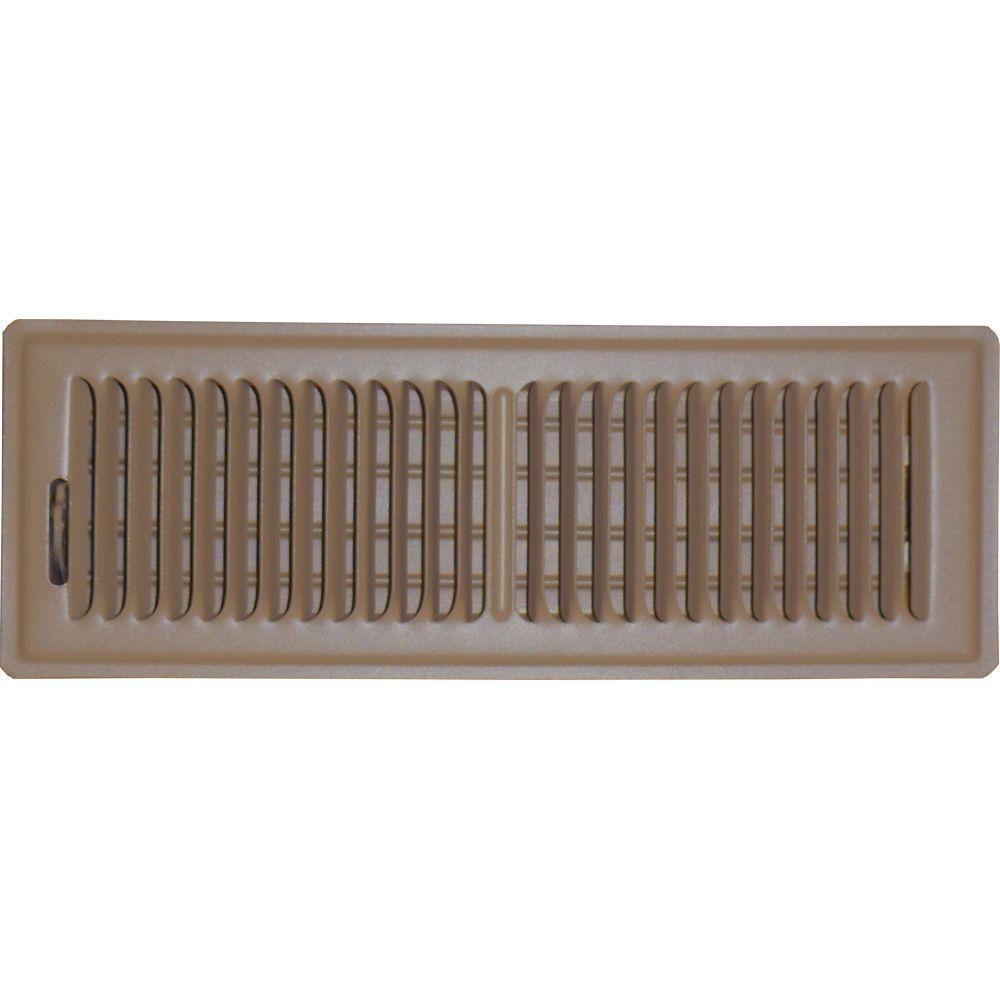 4 in. x 14 in. Floor Vent Register, Brown with 2-Way Deflection