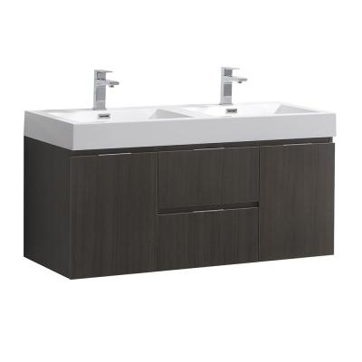 Valencia 48 in. W Wall Hung Bathroom Vanity in Gray Oak with Acrylic Vanity Top in White