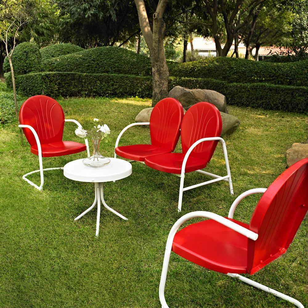 Griffith red 4 piece metal patio conversation set