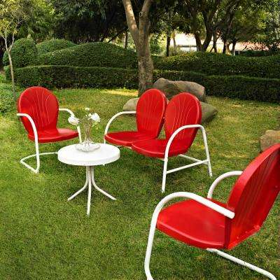 Griffith Red 4-Piece Metal Patio Conversation Set
