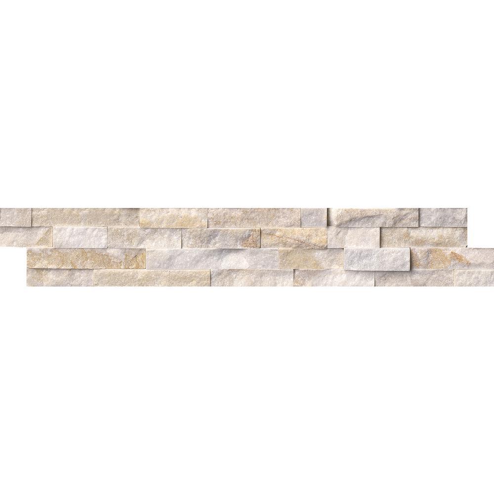 Arctic Golden Splitface Ledger Panel 6 in. x 24 in. Quartzite Wall Tile (10 cases / 60 sq. ft. / pallet)