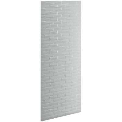 Choreograph 0.3125 in. x 36 in. x 96 in. 1-Piece Shower Wall Panel in Ice Grey with Brick Texture for 96 in. Showers