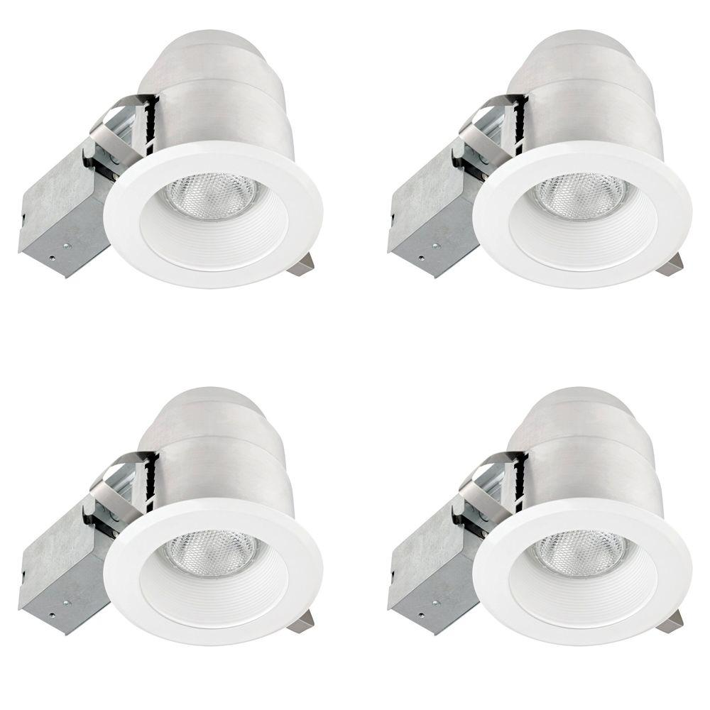 White IC Rated Round Recessed Lighting Kit (4-Pack  sc 1 st  The Home Depot & Globe Electric 5 in. White IC Rated Round Recessed Lighting Kit (4 ... azcodes.com