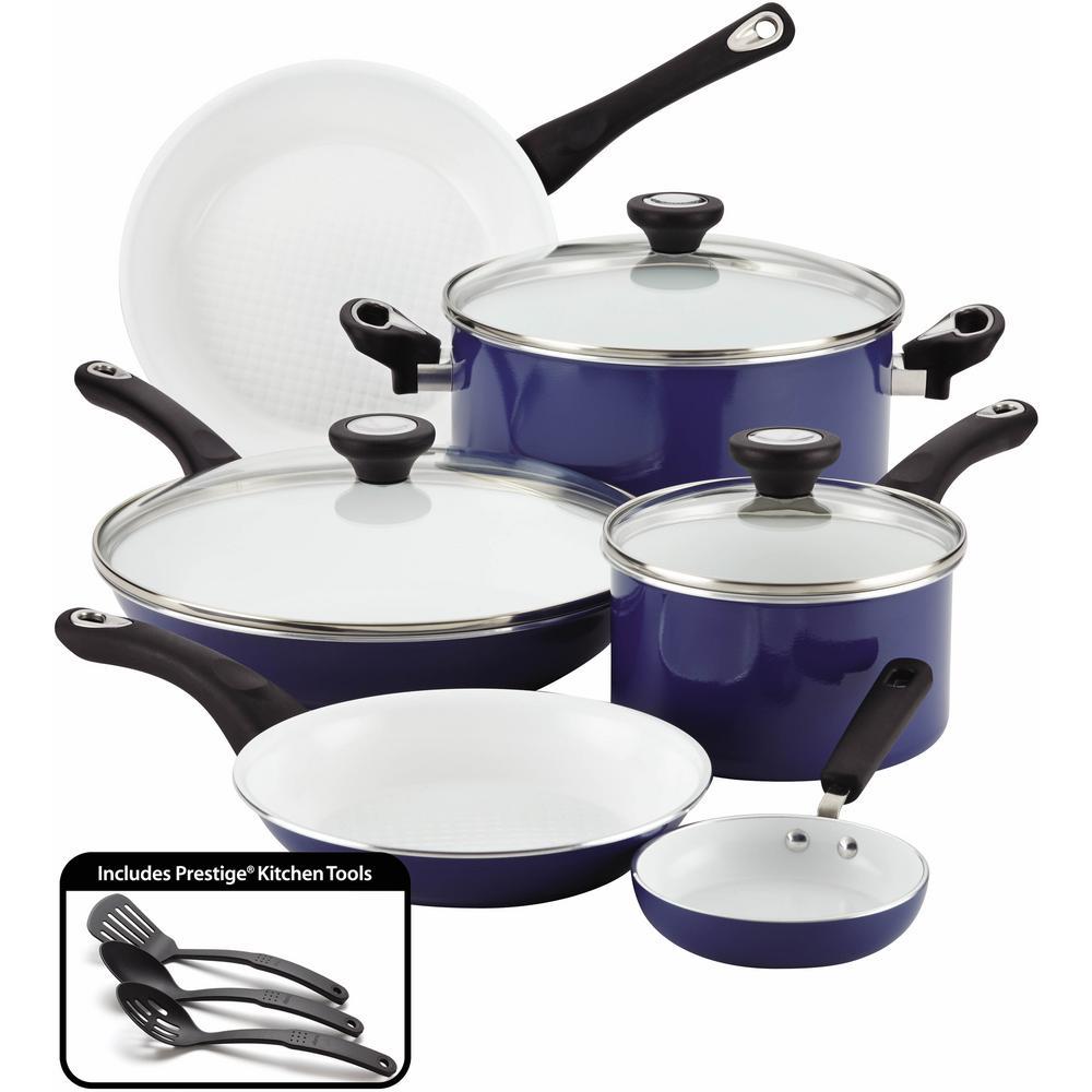 purECOok 12-Piece Aluminum Ceramic Nonstick Cookware Set in Blue