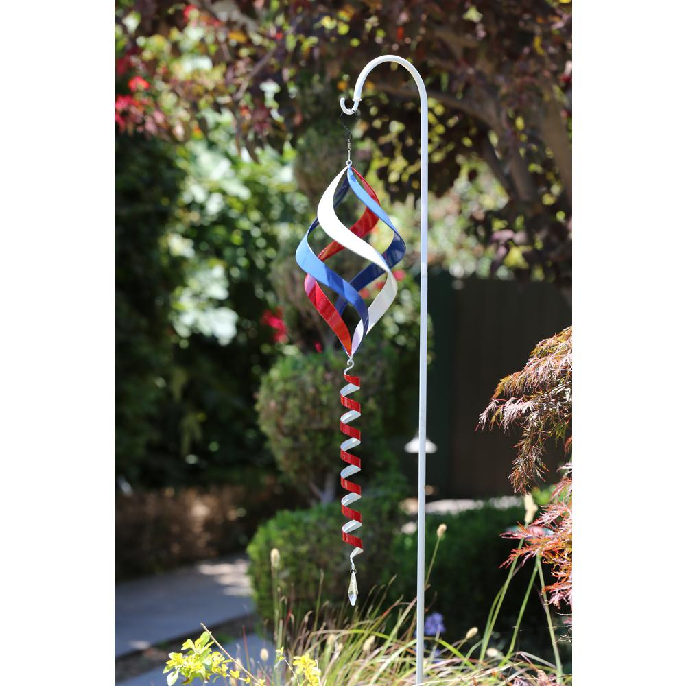 38 in. Red, White and Blue Metal Wind Spinner with Shepherd's