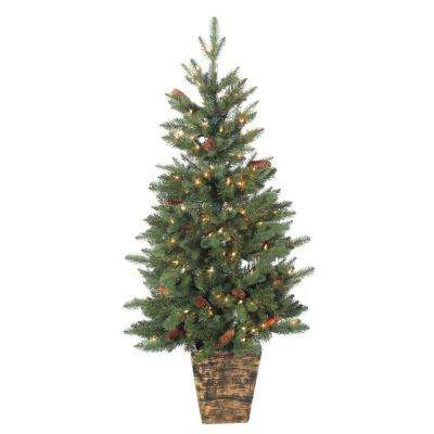 4 ft. Hard Mixed Needle Potted Natural Cut Riverton Pine Artificial Christmas Treewith 150 Clear Lights