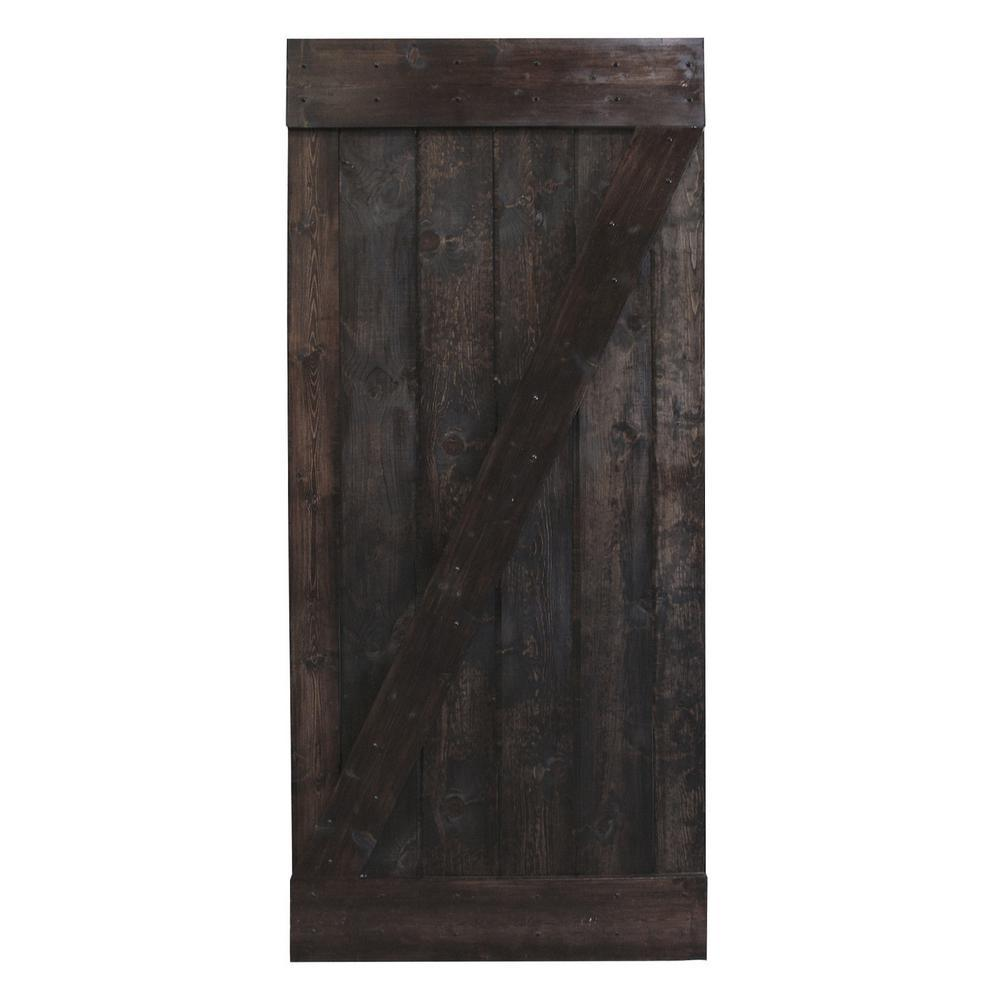 CALHOME 30 in. x 84 in. Dark Coffee Plank Knotty Pine Sliding Barn Wood Interior Barn Door Slab was $359.0 now $219.0 (39.0% off)