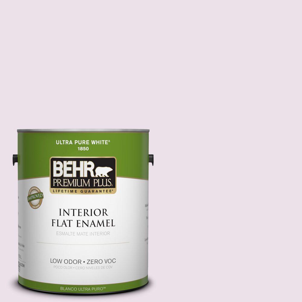 BEHR Premium Plus 1-gal. #670C-2 Petal Dust Zero VOC Flat Enamel Interior Paint-DISCONTINUED