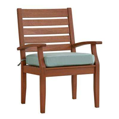 Verdon Gorge Brown Oiled Wood Outdoor Dining Arm Chair with Blue Cushion (2-Pack)